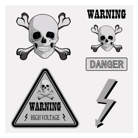 signs symbols danger: Warning signs, symbols. Danger, skull, crossbones, high voltage.
