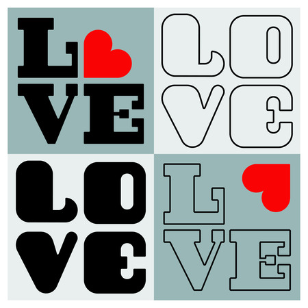 day saint valentin: LOVE Happy Valentines day card, Font Type, set