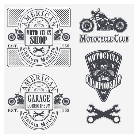 Set of vintage motorcycle labels, badges and design elements Vector