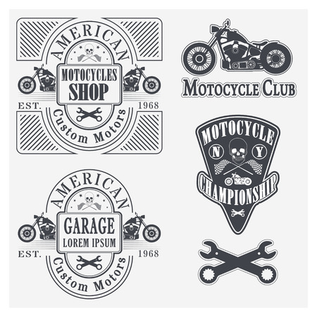 racing wheel: Set of vintage motorcycle labels, badges and design elements