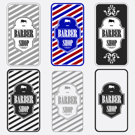 straight razor: Set of vintage barber shop logo graphics and icons Illustration