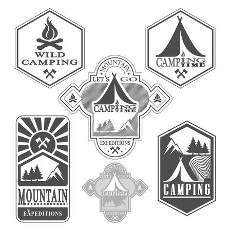 boy scouts tent: Set of vintage woods camp badges and travel logo emblems Illustration