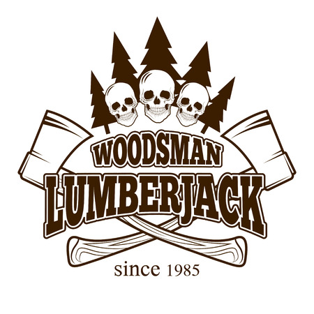 woodsman: Emblem with retro lumberjack attributes. Grunge print. Vintage style. Vector art.