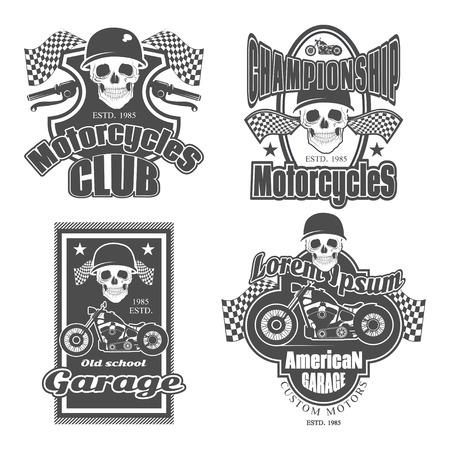 motorcycle repair shop: Set of vintage motorcycle labels, badges and design elements