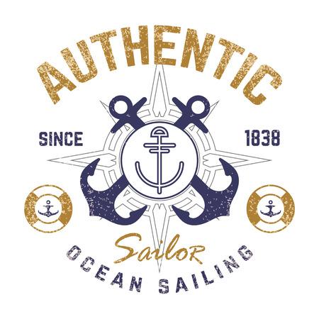 voile: Nautical design de t-shirt � th�me avec ancre illustr�e Illustration