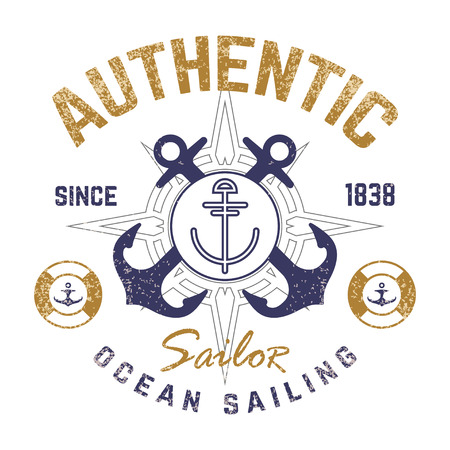 Nautical theme t-shirt design with illustrated anchor Ilustração
