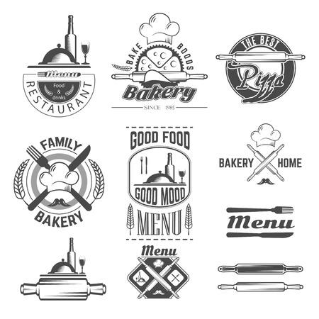 comida rica: Conjunto de la panadería y de la tarjeta del menú emblemas en blanco y negro vintage, etiquetas y elementos diseñados