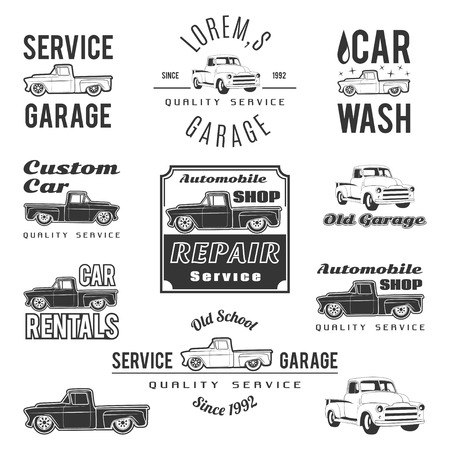 mecanico automotriz: Conjunto de etiquetas de servicio de automóviles, emblemas y elementos de diseño