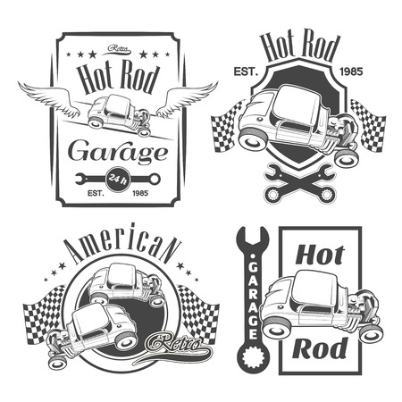 Set of hot rod labels, emblems and design elements Illustration