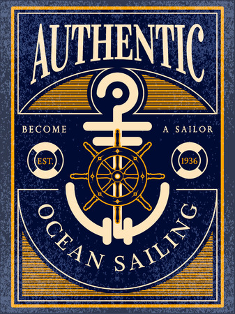 genuine: authentic ocean sailing vintage label
