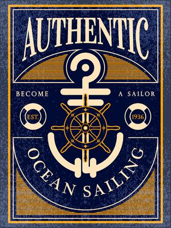 voile: océan authentique étiquette vintage de voile