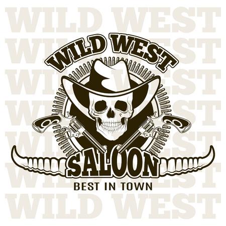 saloon: Wild west saloon, carved retro emblem