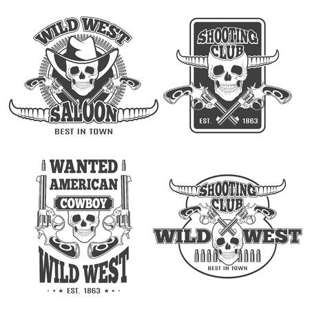 pistola: Conjunto de emblemas de la vendimia de vaquero, etiquetas, escudos, logotipos y elementos diseñados. Tema del oeste salvaje. Estilo monocromo Vectores