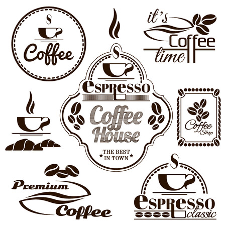 joe: Set of vintage retro coffee badges and labels Illustration