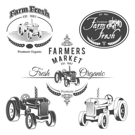 Zestaw etykiet świeże gospodarstwa retro, odznaki i elementy projektu Ilustracje wektorowe