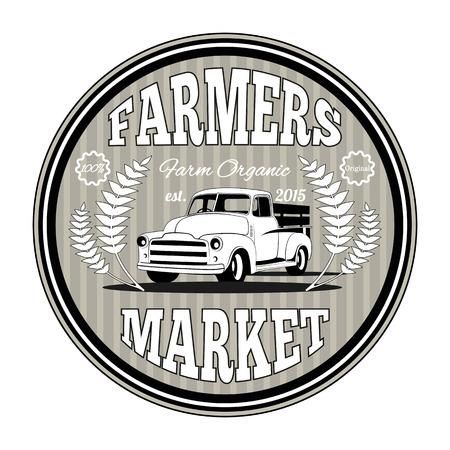 old tractor: retro landbouw label badge en design element Stock Illustratie
