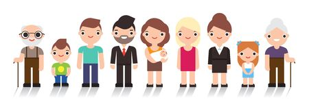 Happy people. Big cheerful family. Father, mother, grandfather,grandmother, children. Vector illustration flat design isolated on white background Archivio Fotografico - 140977091