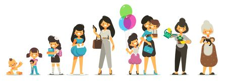 Aging concept of female character. Generation of people and stages of growing up. Baby, Child, Teenager, Adult, Elderly person. The cycle of life from childhood to old age. Vector cartoon illustration