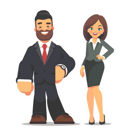 Happy businessman and businesswoman standing on a white background. Vector character design flat style. 向量圖像