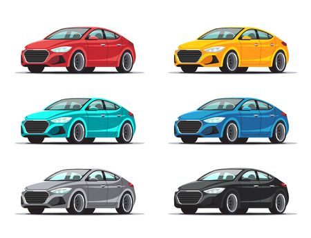 Set of cars. Collection sedan vehicles in a variety of colors. Vector illustration isolated on white background.