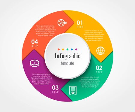 Circular Infographic design template with 4 options or steps. Business concept. Can be used for process diagram, presentations, workflow layout, banner, flow chart, info graph.