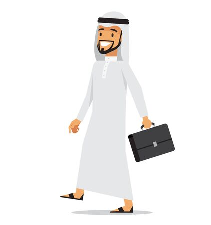 Walking arabic business man with briefcase. Vector character design.