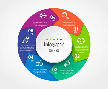 Circular Infographic design template with 6 options or steps. Business concept. Can be used for process diagram, presentations, workflow layout, banner, flow chart, info graph. Ilustracje wektorowe