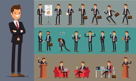 Set of Business Man character design. Vector illustration.