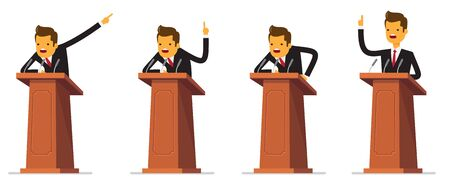 Set Businessman or politician in suit at tribune with microphones making a speech. Orator or narrator, spokesman or leader at debates or presentation for audience. Business meeting or conference theme 일러스트