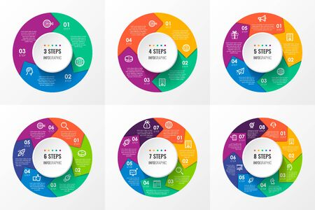 Vector Infographic circular arrows with icons and 3, 4, 5, 6, 7, 8 options or steps. Business concept. Can be used for presentations banner, workflow layout, process diagram, flow chart, info graph