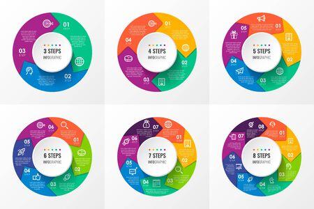 Flechas circulares de vector infografía con iconos y 3, 4, 5, 6, 7, 8 opciones o pasos. Concepto de negocio. Se puede utilizar para pancartas de presentaciones, diseño de flujo de trabajo, diagrama de proceso, diagrama de flujo, gráfico de información