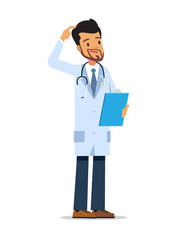 Thinking doctor standing with clipboard on a white background. Cartoon vector character.