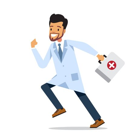 Running male doctor with first aid box. Vector character design isolated on white background.