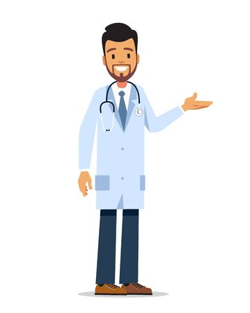 Male doctor standing on a white background. Vector character design.