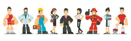 Big set of different profession characters in flat style. Men and women of different careers and jobs standing together on white background. Vector illustration.
