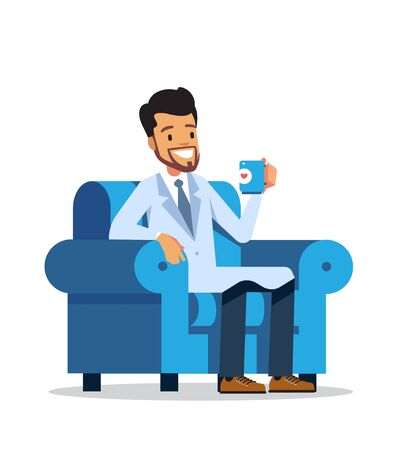 Doctor or medical adviser sitting in an armchair with coffee. Vector character design isolated on white background.