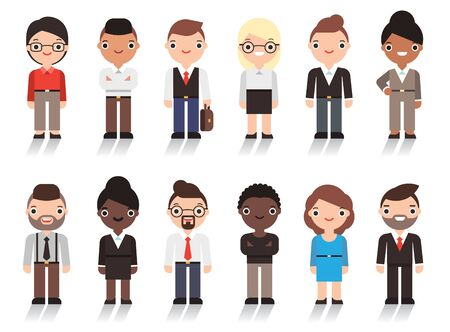 Group of working people business men and business women. Vector character design. Isolated on white background.