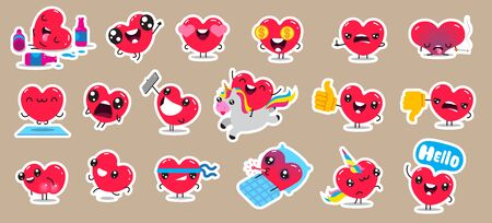 Set of patch badges and stickers with cute hearts characters. Vector design.