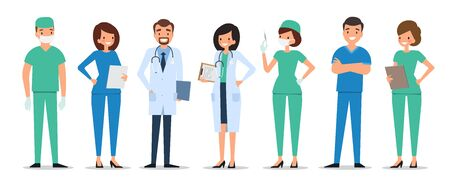 Medical characters flat style people. Doctors and nurses standing together. Hospital staff. Medicine concept.