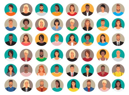 Big set of circle avatars. 48 persons, people heads different nationality. Vector design, characters in flat style. Vectores