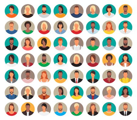 56 Avatars, women, and men heads in flat style. Diverse men and women avatar in a circle. Vector illustration.