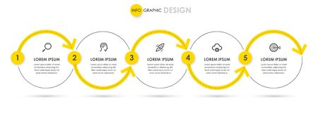 Vector Infographic thin line design with icons and 5 options or steps. Infographics for business concept. 向量圖像