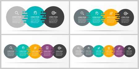 Vector Infographics set with 3, 4, 5, 6, 7 options or steps. Business concept. Can be used for presentations banner, workflow layout, process diagram, flow chart, info graph