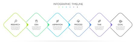 Vector Infographic thin line design with icons and 6 options or steps. Infographics for business concept. Can be used for presentations banner, workflow layout, process diagram, flow chart, info graph 向量圖像