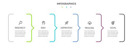 Vector Infographic design with icons and 5 options or steps. Infographics for business concept. Can be used for presentations banner, workflow layout, process diagram, flow chart, info graph Ilustracja