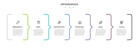 Vector Infographic design with icons and 6 options or steps. Infographics for business concept. Can be used for presentations banner, workflow layout, process diagram, flow chart, info graph Ilustracja