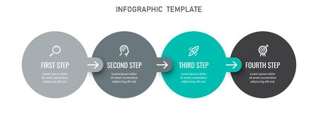 Vector Infographic label design template with icons and 4 options or steps. Can be used for process diagram, presentations, workflow layout, banner, flow chart, info graph Ilustracja