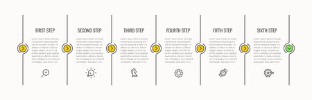 Vector Infographic thin line design with icons and 6 options or steps.
