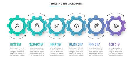Business mechanism Infographic design template with icons and 6 options or steps. Can be used for process diagram, presentations, workflow layout, banner, flow chart, info graph.