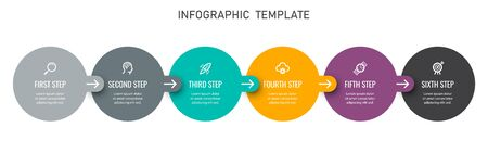 Vector Infographic label design template with icons and 6 options or steps. Can be used for process diagram, presentations, workflow layout, banner, flow chart, info graph